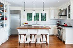 Chappaqua Deepwood Kitchen - transitional - Kitchen - New York - Fivecat Studio Kitchen Bar Lights, Kitchen Layout, Kitchen New York, Transitional Kitchen Design, Kitchen Remodel, Popular Kitchens, Kitchen Design, L Shaped Kitchen, Modern Kitchen Breakfast Bar