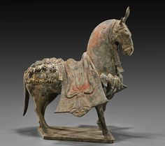 Painted pottery saddled horse, Northern Qi Dynasty, 550-577 AD.