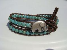 Teal Magnesite Beaded Leather Wrap Bracelet with by tinacdesigns