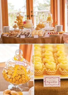 A Sunshine Birthday Party (with a splash of pink!) for a little girls' first birthday party with lemon favors, yellow lanterns, pink party hats & more!