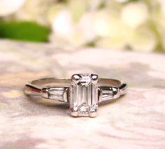 Vintage Emerald Cut Diamond Engagement Ring 0.50ctw Diamond Engagement Ring 14K White Gold Baguette Diamond Wedding Ring Size 6 by LadyRoseVintageJewel on Etsy https://www.etsy.com/listing/238263410/vintage-emerald-cut-diamond-engagement