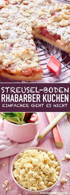 cake with rhubarb- Streuselboden Kuchen mit Rhabarber Crumble cake with rhubarb – www. Cake Recipes, Dessert Recipes, Cook Desserts, Appetizer Recipes, Cookies Et Biscuits, Food Items, Tart, Healthy Snacks, Easy Meals