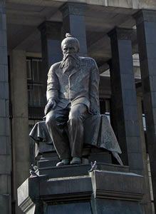 Fyodor Dostoyevsky (October 30, 1821 - 9 February 1881)  Statue in front of the National Library in Moscow