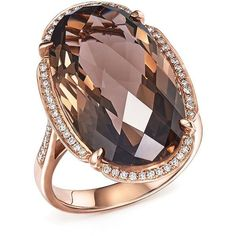 Smoky Quartz Oval and Diamond Ring in 14K Rose Gold