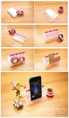 Turn Your Old Cassette Tape Case into an iPhone Holder using Washi Tape!  It can also be a washi tape holder or card holder! Brilliant! :-)