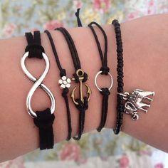 #pulseras #negras Today's #black #bracelets! https://www.etsy.com/shop/divisionjewellery?ref=si_shop