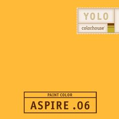 YOLO Colorhouse ASPIRE .06:  Like a field full of sunflowers.  An energy burst that's playful and festive.  Works well in large open spaces and accent walls.  $35.95