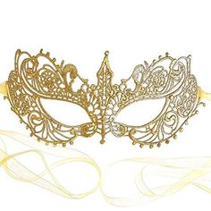 Samantha Peach Gorgeous Gold Lace Goddess Masquerade Mask
