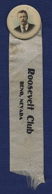 """Theodore Roosevelt """"Roosevelt Club"""" Ribbon and Button, ca. 1904"""