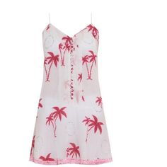 Juliet Dunn Embellished palm-print dress ($140) ❤ liked on Polyvore featuring dresses, pink multi, beach dress, cotton mini dress, mini dress, embellished dresses and metallic mini dress