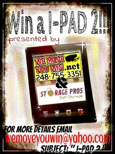 WIN A I-PAD !!!   WE MOVE, YOUWIN!!! NATIONWIDE DISCOUNT MOVERS 18883705380  Our network specializes in:  ALLSTAR Apartment and Residential Moves OUTSTANDING Office and Light Commercial Relocation  Book you appointment today for DISCOUNT MOVERS! http://www.wemoveyouwin.net  We have MOVING DISCOUNTS for ALL!  We have MOVING DISCOUNTS for Single Parents x Seniors x Students and MORE!  WIN NOW! W/the WEMOVEYOUWIN giveaways wemoveyouwin@yahoo.com  W/ thousands of satisfied clients, WEMOVEYOUWIN…