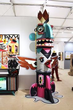 Amigo Totem, repurposed paint cans by Alex Yanes at the Joseph Gross Gallery, Miami Beach Art Basel, Scope art show