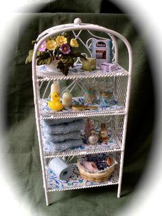 Dolls House Miniatures- White Wire Blue Vanity Bathroom Shelves. $50.00, via Etsy.