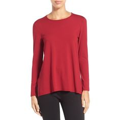 Women's Eileen Fisher Crewneck Long Sleeve Jersey Tee ($105) ❤ liked on Polyvore featuring tops, t-shirts, petite, red brick, red long sleeve t shirt, petite tops, long sleeve tshirt, crew neck long sleeve t shirt and petite tee