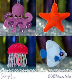 Super cute Sea Creature Patterns ...  these would be so cute for an ocean themed Christmas tree Crib Mobiles, Beach Crafts, Seas, Ocean Crafts, Felt Crafts, Sea Creatures Crafts, Felt Sea, Supercut Felt, Creatur Pattern