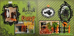 Scrapbook Page - Creepy Halloween Decorations - 2 page layout with the headless horseman and a raven - from Halloween Album 1