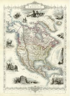 size: Giclee Print: Map of North America - Central America from Greenland to Panama by J. Rapkin : This exceptional art print was made using a sophisticated giclée printing process, which deliver pure, rich color and remarkable detail. World Map Wallpaper, Print Wallpaper, North America Map, Antique World Map, Decorative Borders, Vintage Maps, Wall Murals, Wall Art, Giclee Print