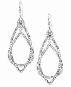 ABS by Allen Schwartz Earrings, Silver-Tone Pave Crystal Orbital Drop Earrings - Fashion Earrings - Jewelry & Watches - Macy's