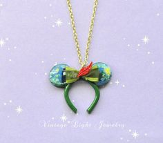 Hand crafted Green Mini Character Ears by VintageLightJewelry Disney Inspired Jewelry, Disney Necklace, Pixie Hollow, Red Feather, Little Bow, Peter Pan, Ears, Cool Designs, Hand Painted