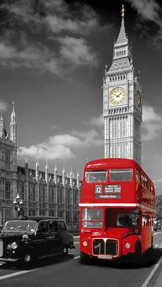London England Big Ben and Red Bus Photography Poster London Eye, London Icons, London Wall, London Snow, London City, Color Splash, Color Pop, Black Cab, Black White