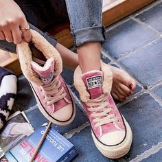 Women s Winter Boots Faux Fur Canvas Sneakers Lace-up Suede High-Low Heel  Shoes 9eccf7d1f274