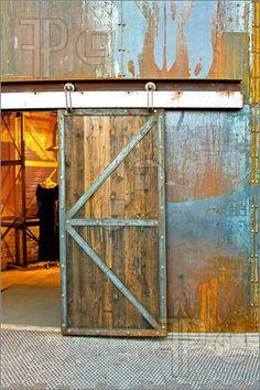 Industrial Sliding Door - I like the metal/wood combo