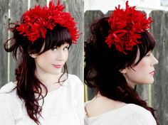 Flower headband :: So fun...but perhaps I can pull it off with some smaller flowers.  #headband