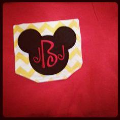 Mickey pocket tshirt applique shirt custom by minimunchkinstuff, $22.50
