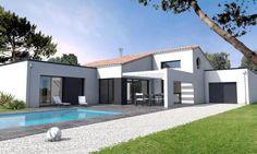 Une maison de plain-pied de 146 m² qui allie design contemporain et élégant avec un déplafonné donnant volume et luminosité[...]