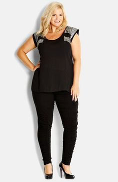 City Chic 'Sequin Splice' Top (Plus Size) available at #Nordstrom