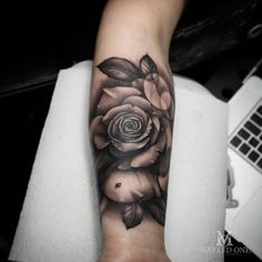 a8b29836f A perfect Black and grey realism Rose by Adam Thomas of Marked One Tattoo.  Mark
