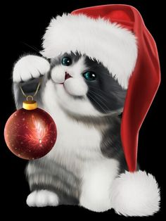 Cute Animals Images, Christmas Card Pictures, Christmas Canvas, Cute Baby Cats, Christmas Scenes, Cat Art, Cute Puppies, Cats And Kittens, Painting