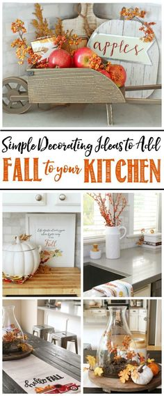 fall home decor Easy fall kitchen decorating ideas. Simple ways to add some fall to your kitchen decor! Fall Kitchen Decor, Vintage Kitchen Decor, Kitchen Colors, Country Kitchen, Fall House Decor, Kitchen Ideas, Kitchen Small, Kitchen Designs, Diy Kitchen