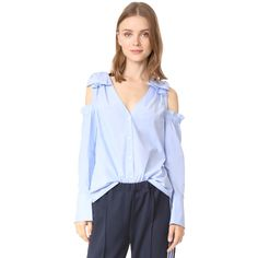 Club Monaco Shiyah Top ($97) ❤ liked on Polyvore featuring tops, blouses, long blouse, open shoulder blouse, blue blouse, flared sleeve blouse and v neck bell sleeve top