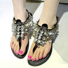 Shoespie Black Crystals Flat Sandals