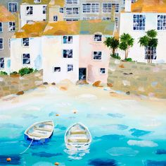 St Ives Harbour Framed at Whistlefish - handpicked contemporary & traditional art that is high quality & affordable. Sketch Inspiration, Painting Inspiration, St Ives Cornwall, Beach Wedding Inspiration, Large Canvas, Freelance Illustrator, Traditional Art, Countryside, Coastal