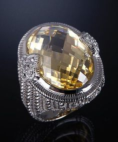 Judith Ripka : canary crystal and diamond fleur-de-lis oval ring : style # 315979301