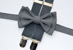 Grey Bow Tie & Grey / Charcoal Suspenders  Groomsmen by armoniia