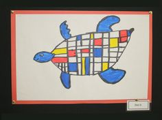 First grade students at Meeting Street Academy use colored markers to create #Mondrain inspired Sea Turtles.  MSA founder Ben Navarro champions educational opportunities for under-resourced  families and elementary art education is a component of his vision.  #MeetingStreetAcademy #Art #Education #SCSchools #BenNavarro #ShermanFinancialGroup