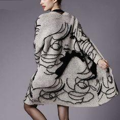 Nueva 2016 Otoño Invierno Mezcla De Pelo de Conejo de Punto Chaquetas Mujeres imprimir jumper Suéter chaqueta de Punto grueso abrigo de Gran Tamaño
