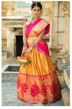 25 Kanjeevaram Lehenga Inspirations Handpicked For The Sister Of The Bride Indian Wedding Gowns, Indian Bridal, Indian Dresses, Indian Outfits, Half Saree Lehenga, Saree Dress, Ethnic Fashion, Indian Fashion, Unique Fashion