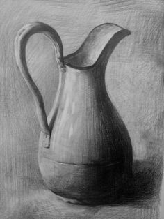 Basic drawing - great example art drawings, object drawing v Graphite Drawings, Pencil Art Drawings, Realistic Drawings, Art Drawings Sketches, Drawing Studies, Drawing Skills, Drawing Techniques, Drawing Ideas, Still Life Sketch