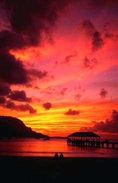 Sunset over Hanalei pier and Hanalei Bay