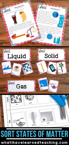 Sort the States of Matter Math Activities For Kids, Preschool Science, Elementary Science, Science Experiments Kids, Science Classroom, Science Lessons, Teaching Science, Science Ideas, Elementary Teacher