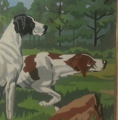 Hunting Dogs. Etsy listing at https://www.etsy.com/listing/178987183/english-setters-rustic-woodland-paint-by