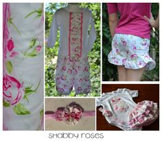 Louie's designs. Shabby roses. Fabric flowers. Ruffles. Sweet. Pink and green.