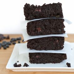 Black Bean Brownies {Gluten-free} |  Use coconut oil instead of canola oil, add zuccini if you want, mix the chocolate chips in, bake for 22-25 minutes at 350! enjoy