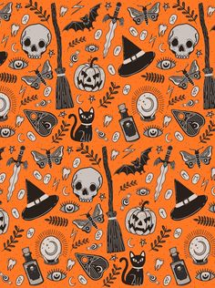 Halloween Pattern by Lily Jane illustration fondos portada Halloween Pattern By Lily Jane Illustration Et Wallpaper, Holiday Wallpaper, Halloween Wallpaper Iphone, Halloween Backgrounds, Cute Wallpaper Backgrounds, Wallpapers, Backgrounds Free, Iphone Wallpaper, Halloween Skeletons