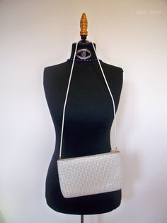 Vintage white chain mesh clutch purse by SkeletonStitch on Etsy, $12.00