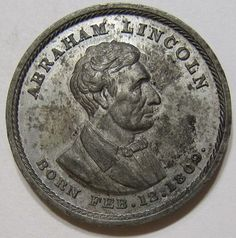 """1860 LINCOLN Republican Candidate """"No More Slave Territory"""" campaign medal/ token. *s*"""